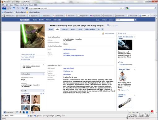Yoda's Facebook Page